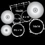 """Batteria Pearl Export Laquer 20"""" 5pz Hardware e Piatti azure daybreak"""