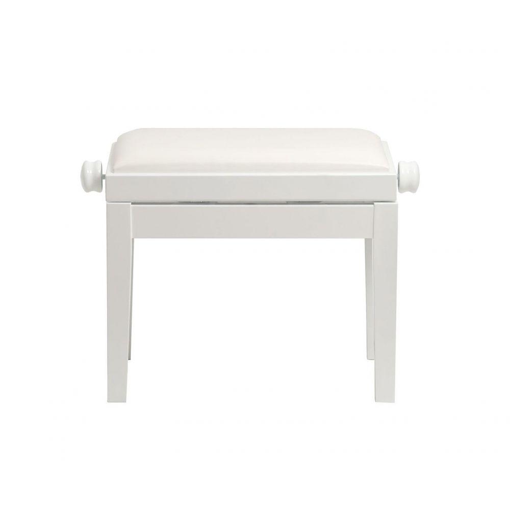 CGM 125 panca fissa per pianforte bianca lucida seduta skay