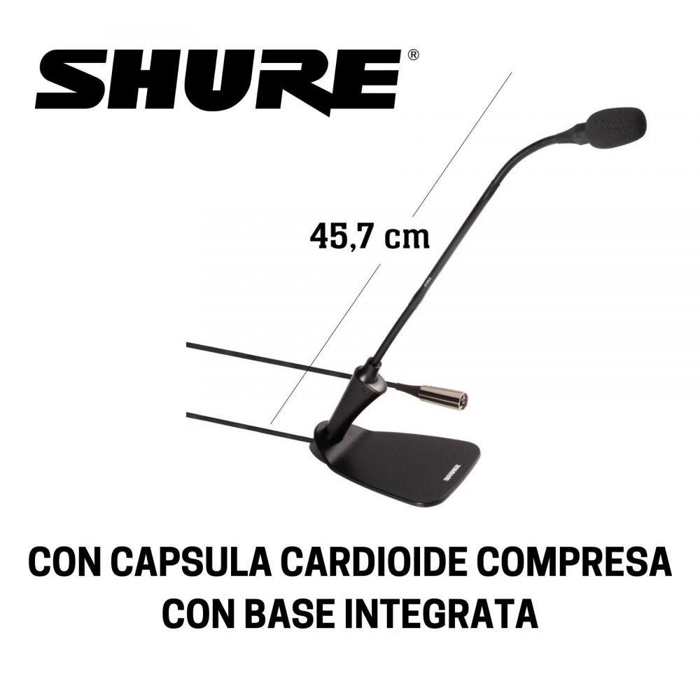 """Microfono collo d'oca Shure CVG18DBC con base da tavolo 18"""" nero"""