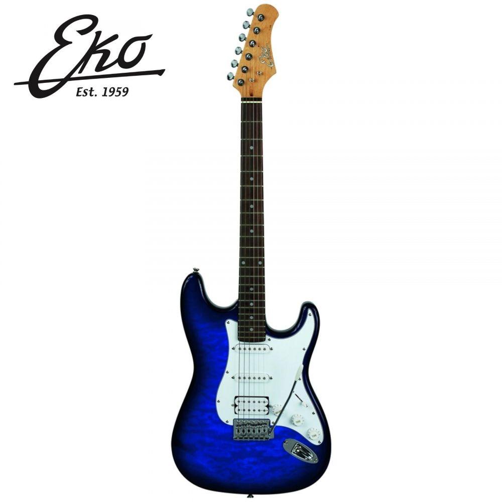 Chitarra Elettrica Eko S-350 see thru blue quilted