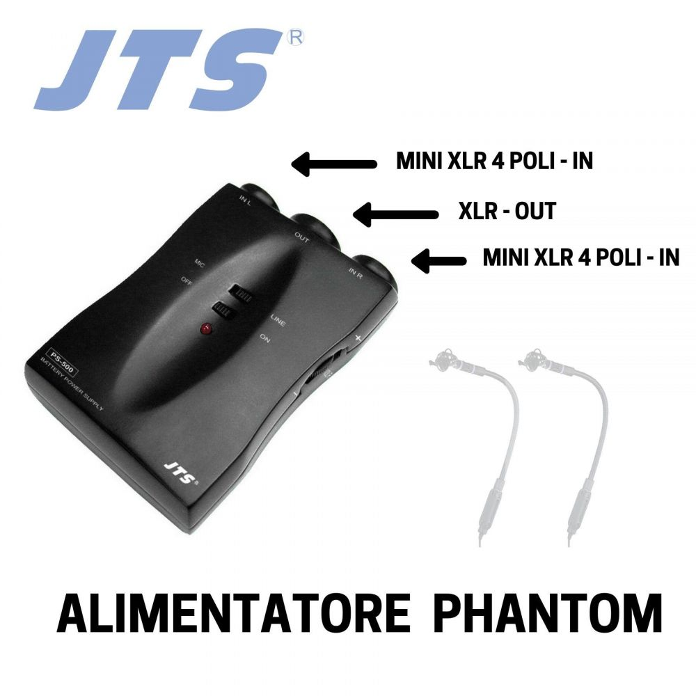 Alimentatore phantom microfono JTS PS-500