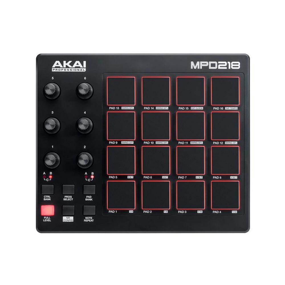 Controller MIDI Akai MPD218 con 16 PAD and 6 x 3  360° knob