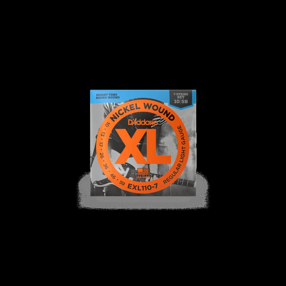 Corde elettrica D`Addario EXL110-7 nickel wound 7 corde regular light 10-59