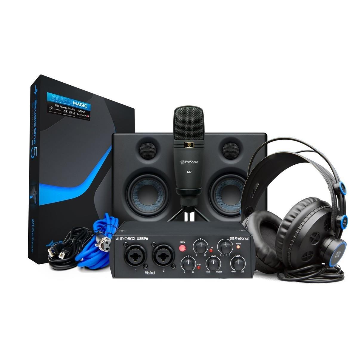 BUNDLE Presonus AUDIOBOX 96 STUDIO BLACK ULTIMATE scheda microfono cuffia coppia monitor