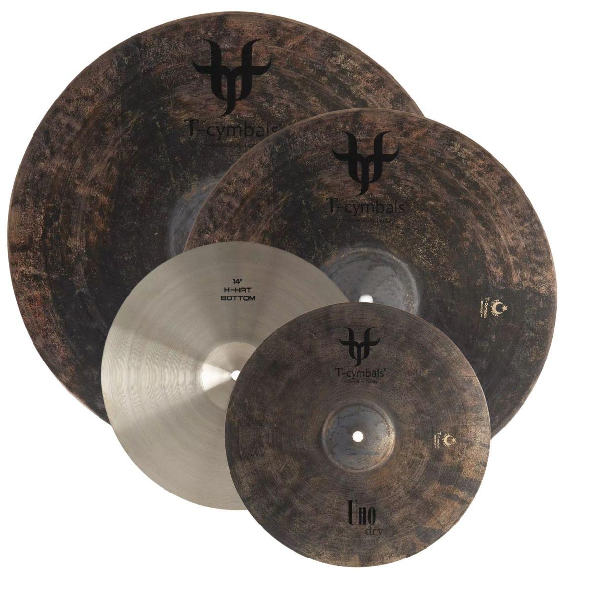 "Set Piatti T-Cymbals UNO DRY HH 14"" Crash 16"" Ride 20"""