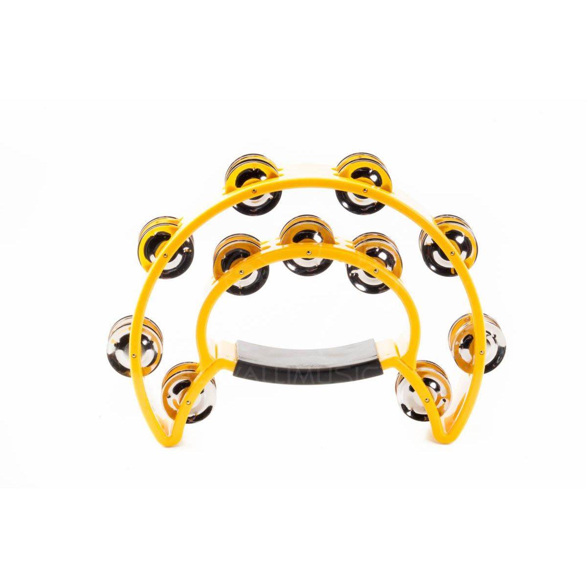 Cembalo Peace mezzaluna doppia fila sonagli plastica giallo